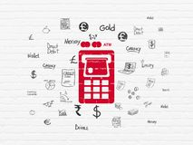 Banking concept: ATM Machine on wall background. Banking concept: Painted red ATM Machine icon on White Brick wall background with  Hand Drawn Finance Icons Royalty Free Stock Photos