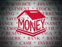 Banking concept: Money Box on Digital Data Paper background. Banking concept: Painted red Money Box icon on Digital Data Paper background with  Tag Cloud Stock Image
