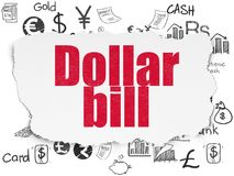 Banking concept: Dollar Bill on Torn Paper background. Banking concept: Painted red text Dollar Bill on Torn Paper background with  Hand Drawn Finance Icons Royalty Free Stock Photo