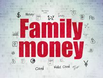 Banking concept: Family Money on Digital Data Paper background. Banking concept: Painted red text Family Money on Digital Data Paper background with  Hand Drawn Royalty Free Stock Photo