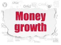 Banking concept: Money Growth on Torn Paper background. Banking concept: Painted red text Money Growth on Torn Paper background with Scheme Of Hand Drawn Finance Royalty Free Stock Image