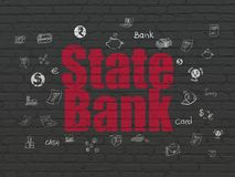 Banking concept: State Bank on wall background. Banking concept: Painted red text State Bank on Black Brick wall background with  Hand Drawn Finance Icons Stock Images