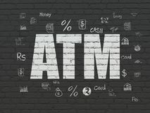 Banking concept: ATM on wall background. Banking concept: Painted white text ATM on Black Brick wall background with  Hand Drawn Finance Icons Royalty Free Stock Images