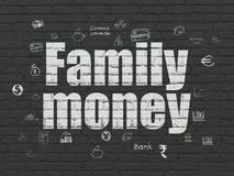 Banking concept: Family Money on wall background. Banking concept: Painted white text Family Money on Black Brick wall background with  Hand Drawn Finance Icons Royalty Free Stock Photography