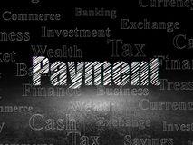 Banking concept: Payment in grunge dark room. Banking concept: Glowing text Payment in grunge dark room with Dirty Floor, black background with  Tag Cloud Stock Image