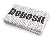 Banking concept: Deposit on Newspaper background. Banking concept: Pixelated black text Deposit on Newspaper background, 3D rendering Stock Image