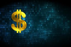 Banking concept: Dollar on digital background. Banking concept: pixelated Dollar icon on digital background, empty copyspace for card, text, advertising Royalty Free Stock Images