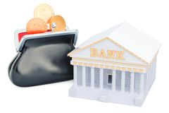 Banking concept with purse full of golden coins, 3D rendering. Isolated on white background Royalty Free Stock Image