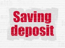 Banking concept: Saving Deposit on wall background. Banking concept: Painted red text Saving Deposit on White Brick wall background with  Tag Cloud Stock Photography