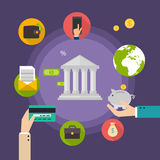 Banking concept. Set of flat icon banking, finance operations Royalty Free Stock Photography