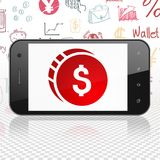 Banking concept: Smartphone with Dollar Coin on display Royalty Free Stock Photo