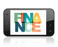 Banking concept: Smartphone with Finance on  display. Banking concept: Smartphone with Painted multicolor text Finance on display, 3D rendering Royalty Free Stock Photography