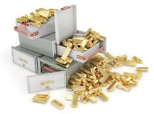 Banking concept. Stack of bank cells full of gold isolated on a white. 3d. Illustration Stock Images