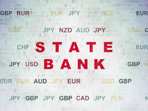 Banking concept: State Bank on Digital Paper background. Banking concept: Painted red text State Bank on Digital Paper background with Currency Stock Photo