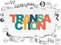 Banking concept: Transaction on Torn Paper background. Banking concept: Painted multicolor text Transaction on Torn Paper background with  Hand Drawn Finance Royalty Free Stock Images