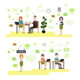 Banking concept vector illustration in flat style. Vector illustration of bank managers, customer service representatives and clients. Bank people, bank symbols Royalty Free Stock Photo