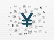 Banking concept: Yen on wall background. Banking concept: Painted blue Yen icon on White Brick wall background with  Hand Drawn Finance Icons Stock Photography