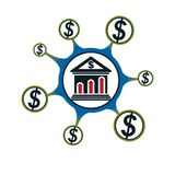 Banking conceptual logo, unique  symbol. Banking system. T. He Global Financial System. Circulation of Money Stock Photography