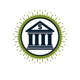 Banking conceptual logo, unique vector symbol. Banking system. Stock Photo