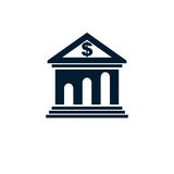 Banking conceptual logo, unique vector symbol. Banking system. Creative and conceptual sign Stock Photos