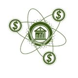 Banking conceptual logo, unique vector symbol. Banking system. T. He Global Financial System. Circulation of Money Royalty Free Stock Images