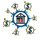 Banking conceptual logo, unique vector symbol. Banking system. T Royalty Free Stock Images