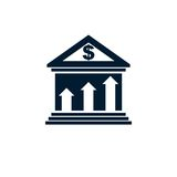 Banking conceptual logo, unique vector symbol. Banking system. T. He Global Financial System. Circulation of Money Royalty Free Stock Photo