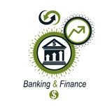 Banking conceptual logo, unique vector symbol. Banking system. T. He Global Financial System. Circulation of Money Royalty Free Stock Photos