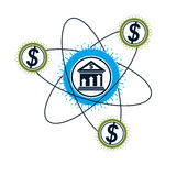 Banking conceptual logo, unique vector symbol. Banking system. T. He Global Financial System. Circulation of Money Royalty Free Stock Image