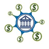 Banking conceptual logo, unique vector symbol. Banking system. T. He Global Financial System. Circulation of Money Stock Photography