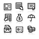 Banking contour web icons. Vector web icons, black contour series Stock Photography