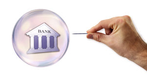 Banking and Credit Bubble about to explode by a needle Royalty Free Stock Photography