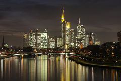Banking district Frankfurt at night Stock Photos