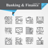 Banking and Financ icons. Simple line Banking and Finance icon set,internet payment security,key,online,mobile service,savings,precious metals,internet payment Royalty Free Stock Images