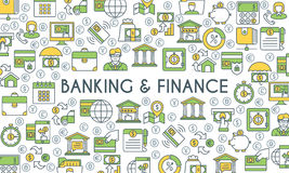 Banking and finance banner. Design template with flat line icons on theme finance, investment, market research, financial analysis, savings. Vector Royalty Free Stock Images