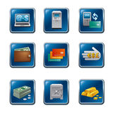 Banking buttons icon set. Banking and finance buttons icon set Stock Photo