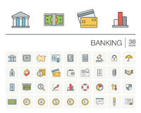 Banking and finance color vector icons. Vector thin line icons set and graphic design elements. Illustration with banking and finance outline symbols. Bank, card Stock Photos