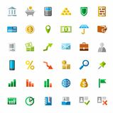 Banking, Finance, colorful icons. Vector images on the theme of financial and banking services. Colored icons Royalty Free Stock Photos