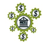 Banking and Finance conceptual logo, unique  symbol. Banki. Ng system. The Global Financial System. Circulation of Money Royalty Free Stock Photo