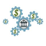 Banking and Finance conceptual logo, unique  symbol. Banki. Ng system. The Global Financial System. Circulation of Money Stock Image