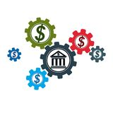 Banking and Finance conceptual logo, unique vector symbol. Banki. Ng system. The Global Financial System. Circulation of Money Stock Photography