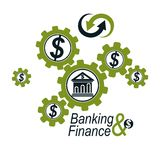 Banking and Finance conceptual logo, unique vector symbol. Banki Stock Images