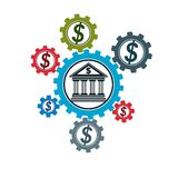 Banking and Finance conceptual logo, unique vector symbol. Banki. Ng system. The Global Financial System. Circulation of Money Stock Photos