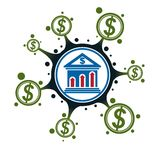 Banking and Finance conceptual logo, unique vector symbol. Banki. Ng system. The Global Financial System. Circulation of Money Royalty Free Stock Images