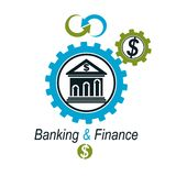 Banking and Finance conceptual logo, unique vector symbol. Banki. Ng system. The Global Financial System. Circulation of Money Stock Photo