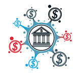 Banking and Finance conceptual logo, unique vector symbol. Banki. Ng system. The Global Financial System. Circulation of Money Stock Image