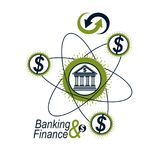Banking and Finance conceptual logo, unique vector symbol. Banki. Ng system. The Global Financial System. Circulation of Money Stock Images