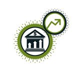 Banking and Finance conceptual logo, unique vector symbol.. Banking system. The Global Financial System. Circulation of Money Royalty Free Stock Photos