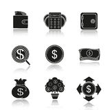 Banking and finance drop shadow black icons set. Wallet with cash, calculations, bank vault, investment search, us dollar coin and banknotes stack, money bag Royalty Free Stock Images