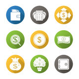 Banking and finance flat design long shadow icons set Royalty Free Stock Photos